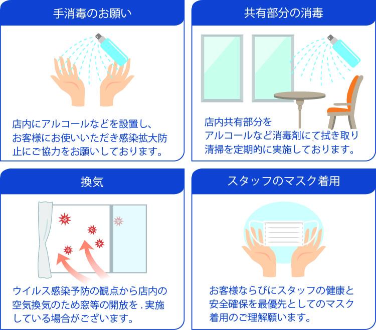 手消毒のお願い・共有部分の消毒・換気・スタッフのマスク着用